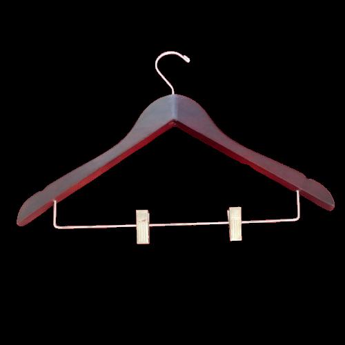 WOODEN HANGER W/CLIP DARK BROWN STANDARD HOTEL 5* Gantungan Baju Dengan Klip Besi – Cokelat Tua