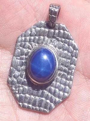 Liontin Pria Starred Blue Sapphire di atas Perak, Private Collection of Jeffrey Wibisono V., Designed and Produced by Fuli Art.